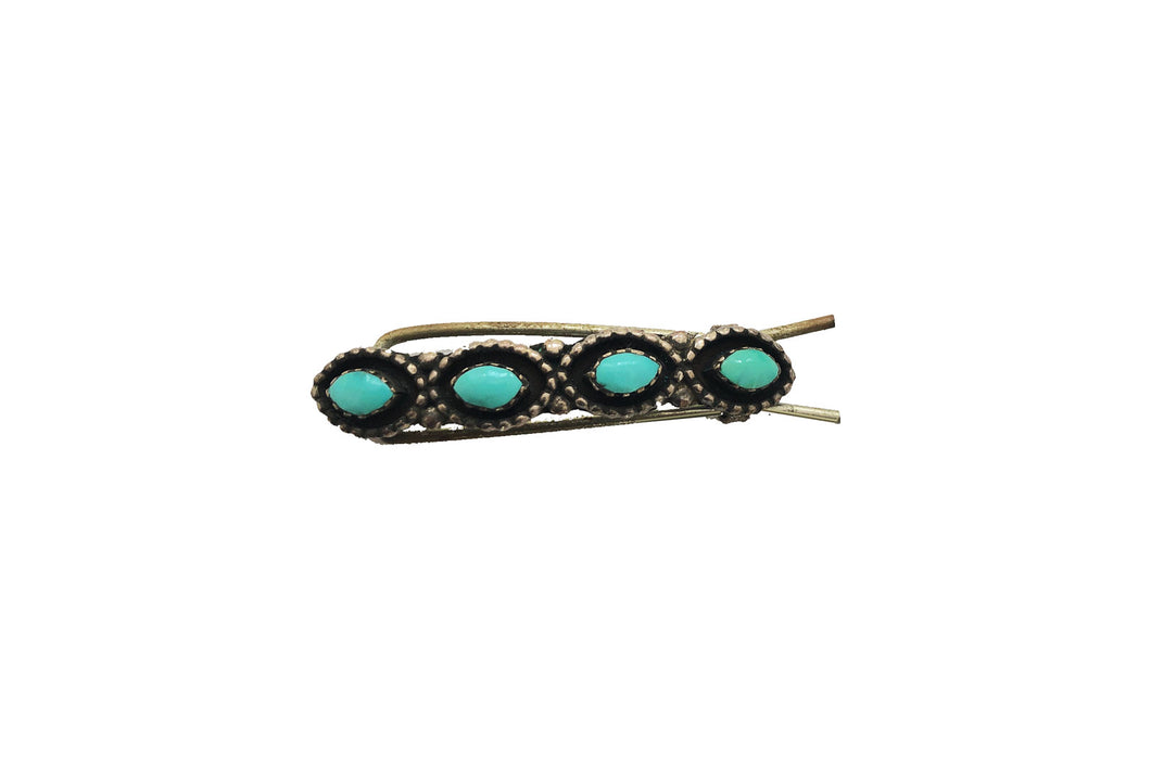 VINTAGE STERLING SILVER AND TURQUOISE BARRETTE