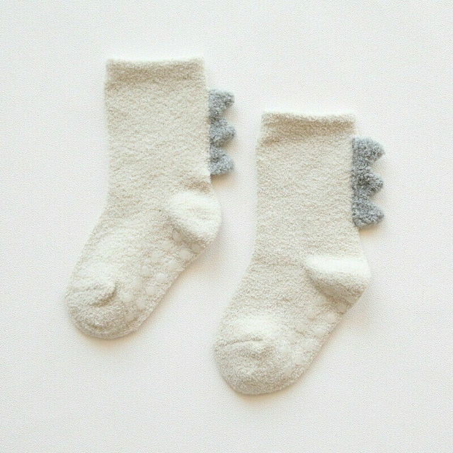 High-Knee Plush Dinosaur Socks