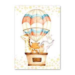Animals Air Balloon 01 Canvas Print