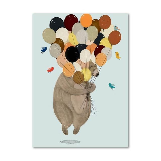 Bear With Balloons Canvas Print
