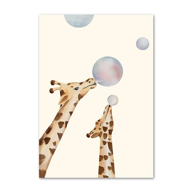 Giraffes With Bubble Gum Canvas Print