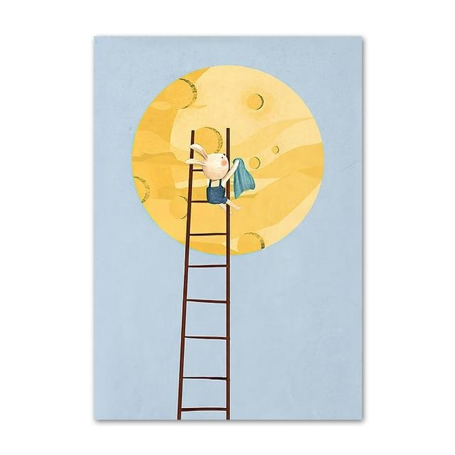 Bunny And Moon Canvas Print