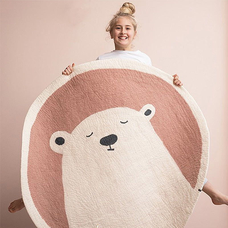 "Nordic Round Rug For Nursery Room ""BEAR"""