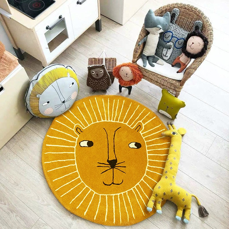 "Nordic Round Rug For Nursery Room ""LION"""
