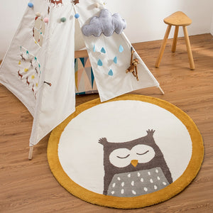 "Nordic Round Rug For Nursery Room ""OWL"""
