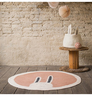 "Nordic Round Rug For Nursery Room ""RABBIT"""