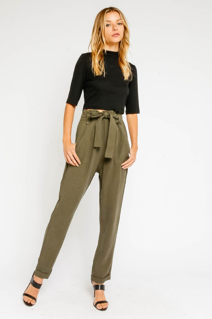 High Wasted Olive Pant