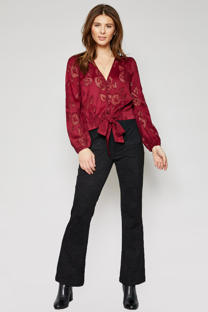 Burgundy Burn Out Top