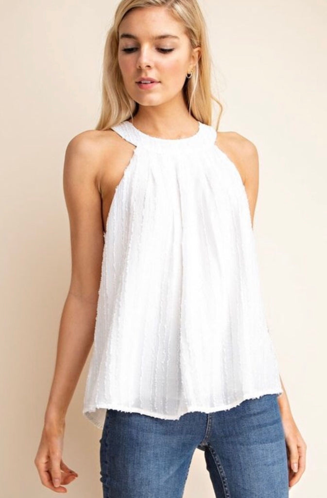 White high neck blouse
