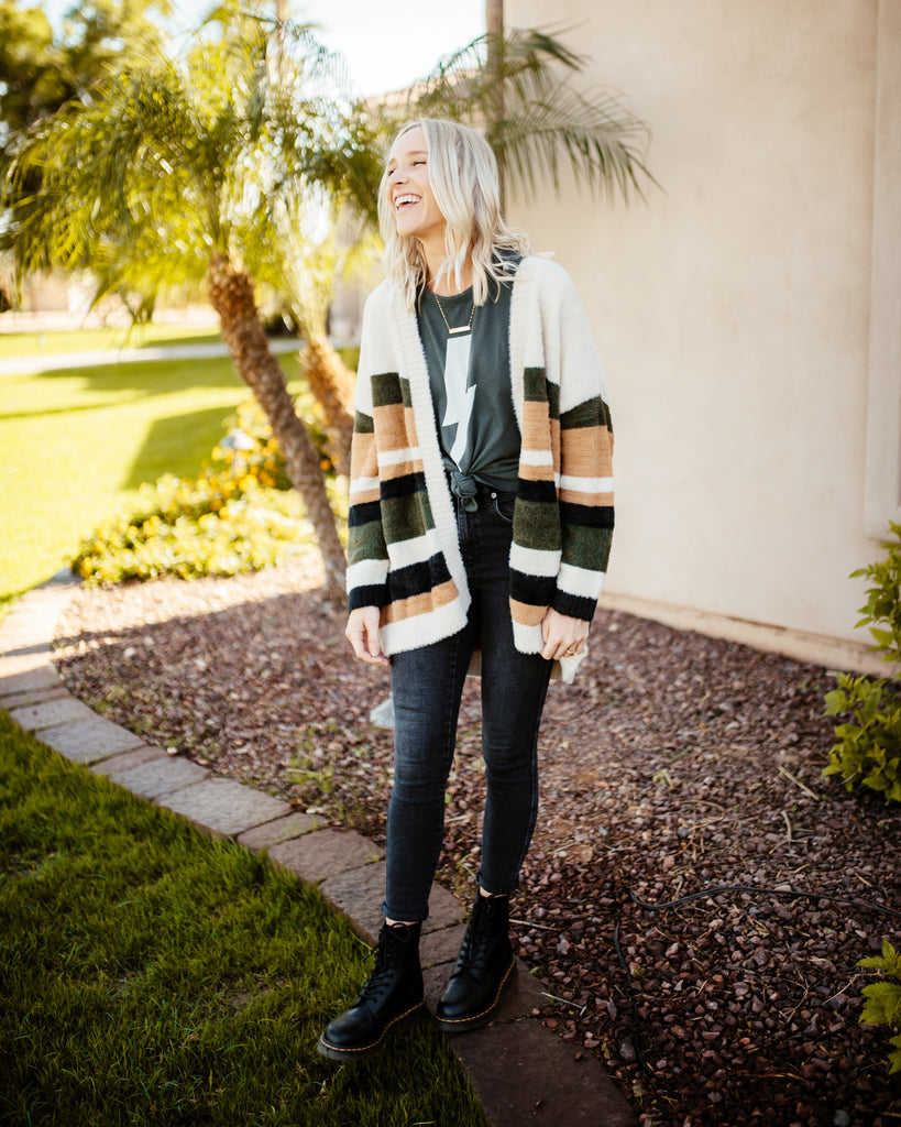Open Stripe Cardigan