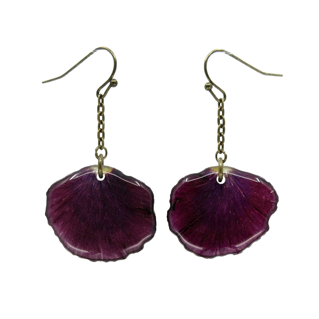 Dark Purple Pansy Petal Earrings - Luna's Secret Garden