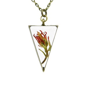 Indian Paintbrush Necklace - Triangle Real flower leaf botanical jewelry Necklace Luna's Secret Garden