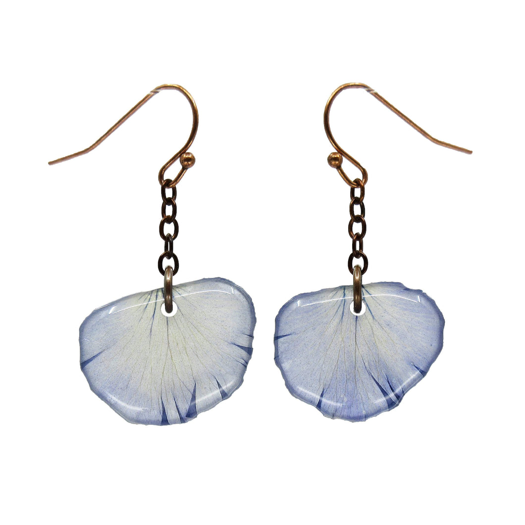 Light Purple Pansy Petal Earrings Real flower leaf botanical jewelry Earrings Luna's Secret Garden