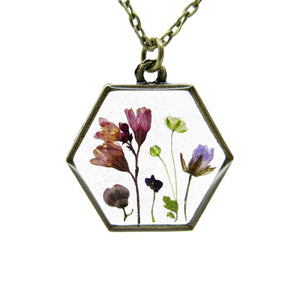 Mini Garden Necklace IV Real flower leaf botanical jewelry Necklace Luna's Secret Garden