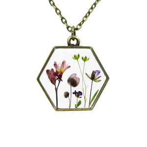 Mini Garden Necklace VI Real flower leaf botanical jewelry Necklace Luna's Secret Garden