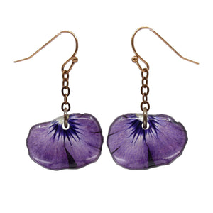 Purple Fan Pansy Petal Earrings Real flower leaf botanical jewelry Earrings Luna's Secret Garden