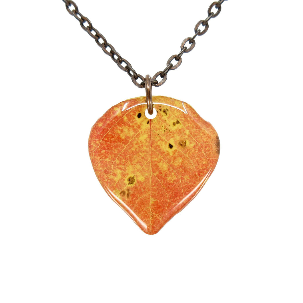 Red Aspen Leaf Necklace - Luna's Secret Garden