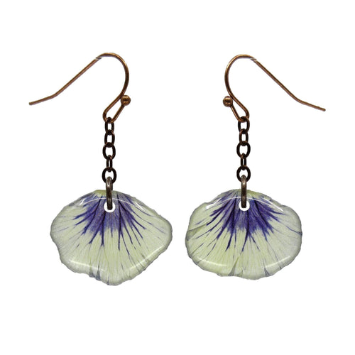 White/Purple Fan Pansy Petal Earrings - Luna's Secret Garden