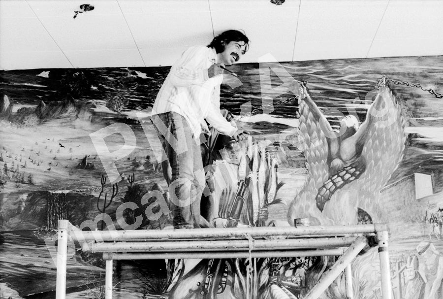 "Commemorative Postcards (4""x6""): Eduardo Carrillo Painting Mural circa 1970, photo by Oscar Castillo"