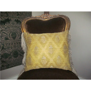 Pair of Pillows Algerian Mat of Gold with Raised Silver Thread Arbors