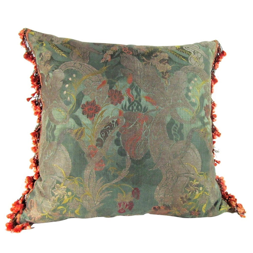 French or Italian 18th Century Silk Bizarre/Brocade Pillow