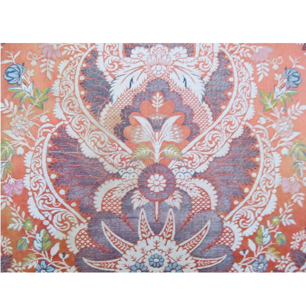 French 18th Century Silk Brocade Lampas Panel in a