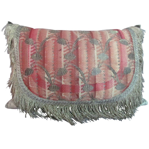 French or Italian, 18th Century, Silk Bizarre Brocade Pillow with Silver Metal Thread
