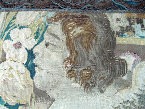 Brussels 17th Century Tapestry of Winged Putti Kneeling with Urn