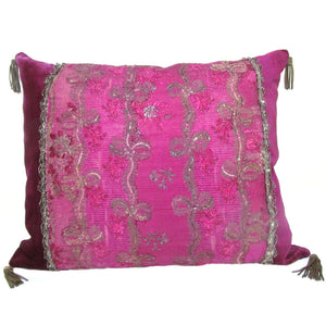 Vivid Louis XVI Silver Gilt, Silk Brocade Pillow