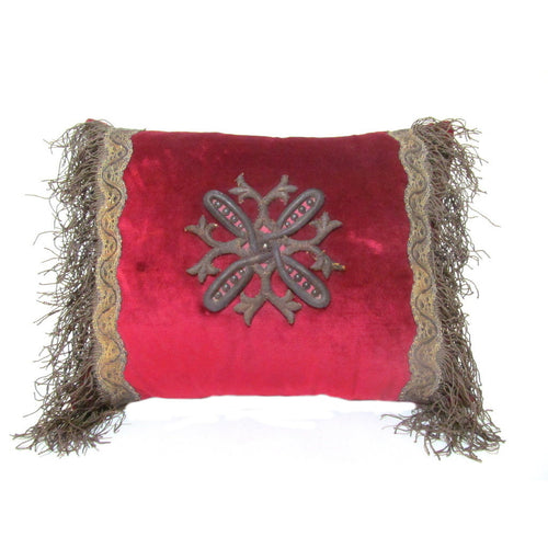 French 18th Century Metal Applique on Red Silk Velvet Pillow