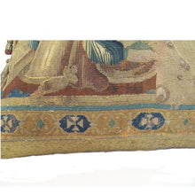 French, 18th Century, Tapestry Pillow Depicting a Figurehead with Wooden Tassels