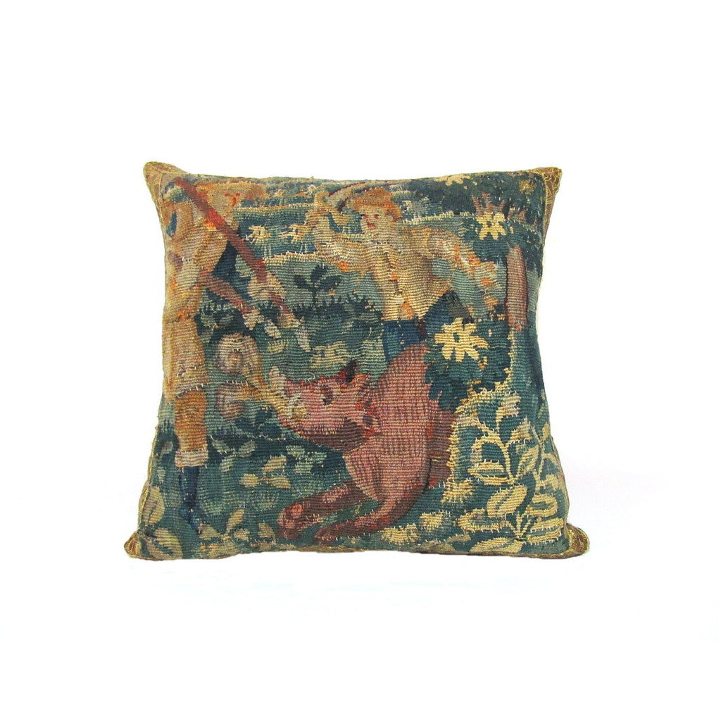 Flemish 17th Century Tapestry Fragment Pillow Depicting Hunters and a Boar
