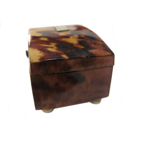 English 19th Century Blond Tortoiseshell Pin Box with Bun Feet