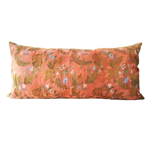 French Rococo Double-Sided Pillow with Silk Brocade and Silk Damask