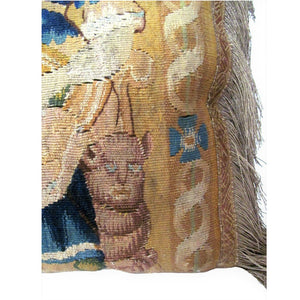 Brussels Tapestry Fragment Depicting a Lady and a Rare Cat