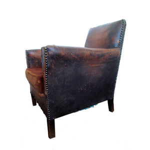 French Art Deco Petite Orphan Leather Club Chair