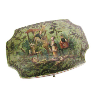 French 19th Century Papier Mâché Hand Painted Sewing Case with Gold Gilt Tools