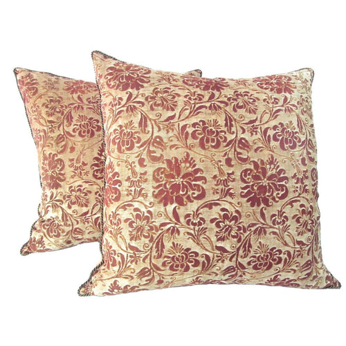 "Pair of Early 1930's Fortuny Pillows in his ""Cimarosa"" Pattern"