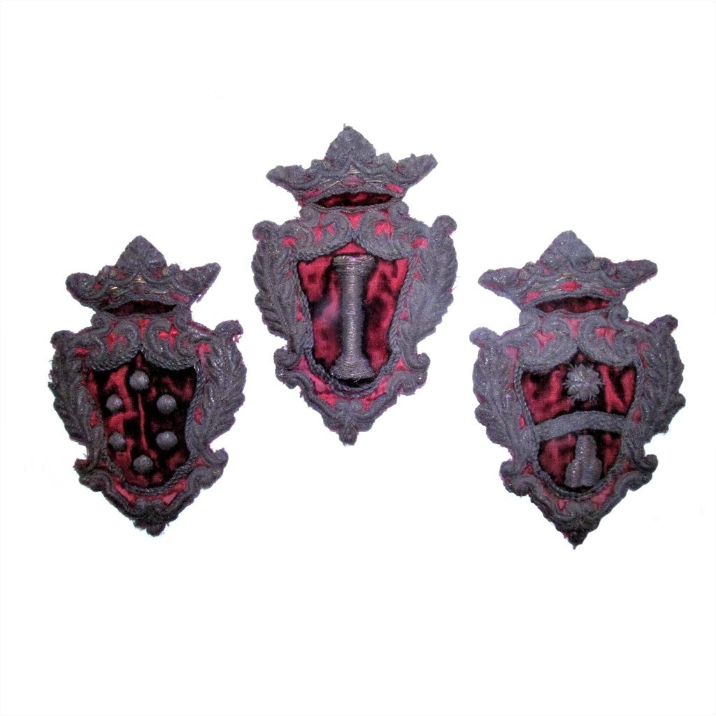 Trio of Italian 19th Century Crests, Coat of Arms, Armorial