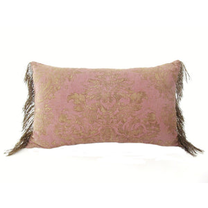 "Rare Pair of Pink c1910 Fortuny Fabric Pillows in his ""Dandolo"" Pattern"
