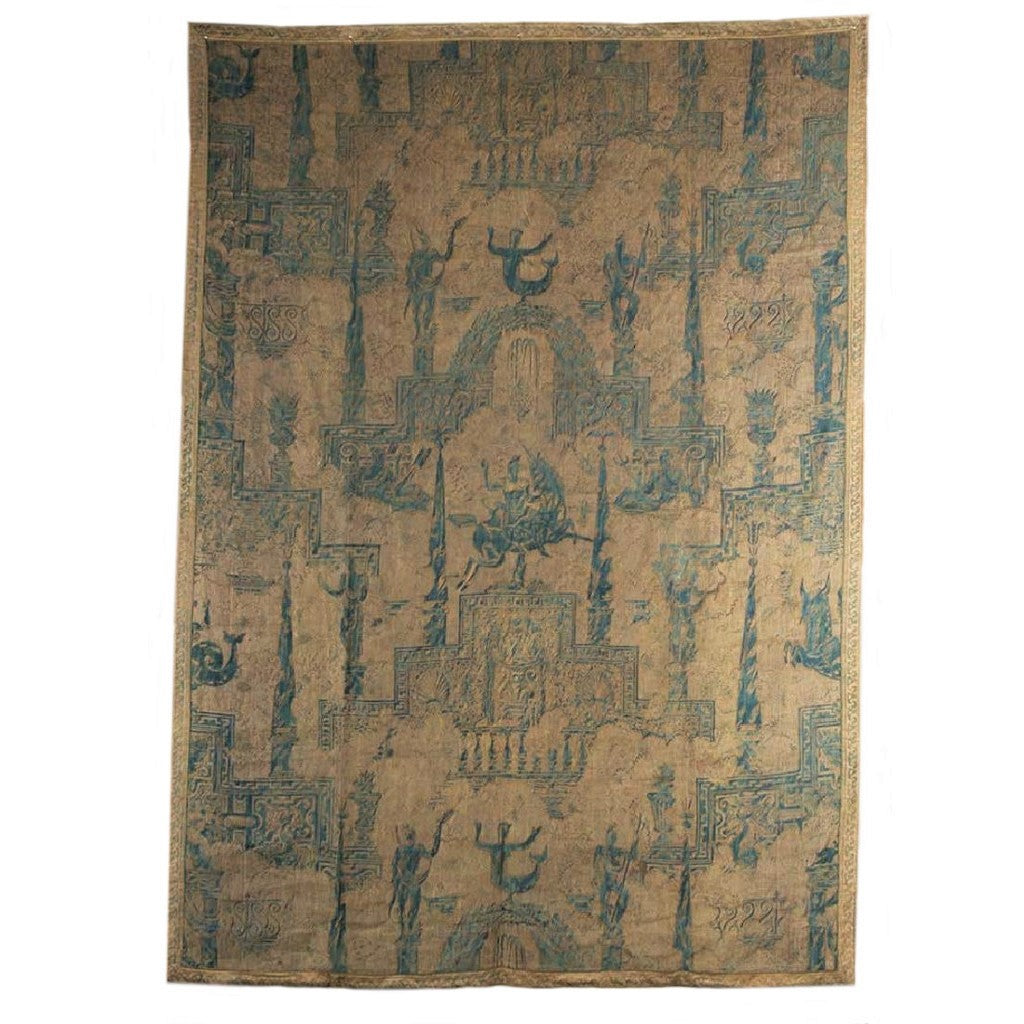 "Fortuny Hanging Panel, ""Obelisco"" Pattern, Italian, 20th Century"