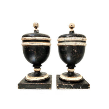 Pair of Italian 18th Century Wooden Apothecary Jars/Urns with Lids