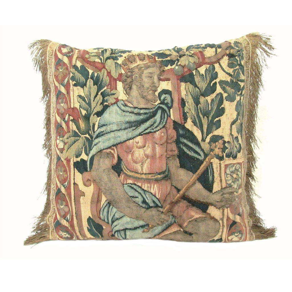 Belgian 18th Century Tapestry Fragment Pillow of a King with Foliage