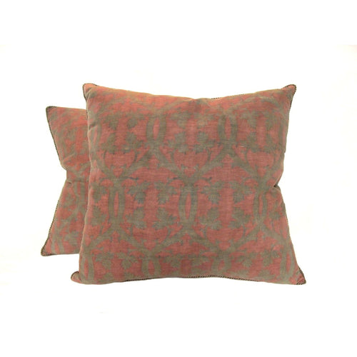Pair Fortuny 1920's Climbing Leaf Motif Pillows in a Woven Twill