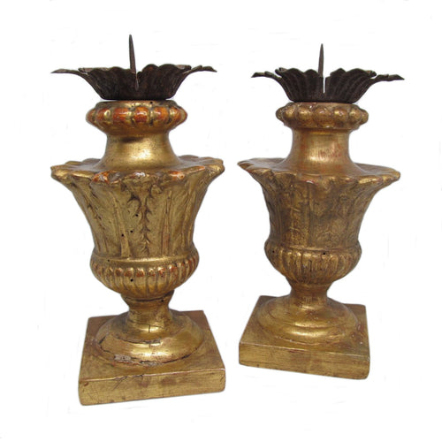 Pair Antique Italian 18th Century Giltwood Pricket Candlesticks