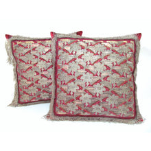 Italian Fragment Pillow of Silk and Metal Flowers with Torchon Lace