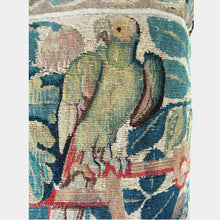 French 17th Century Tapestry Pillow Depicting a Parrot and Urn of Flowers