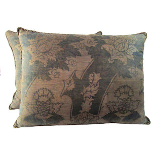 Pair of 1920's Fortuny Fabric Pillows Depicting Pomegranates and Artichokes