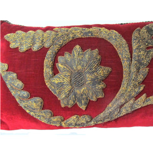 Italian 17th century thick Metal Applique Hand Couched on Mohair