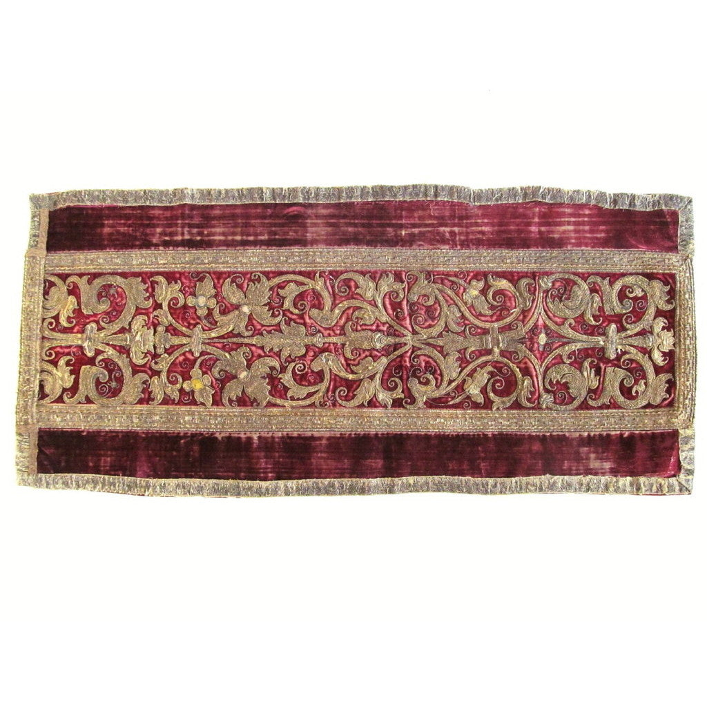 Italian or Spanish Silk and Metal Thread Embroidered Runner